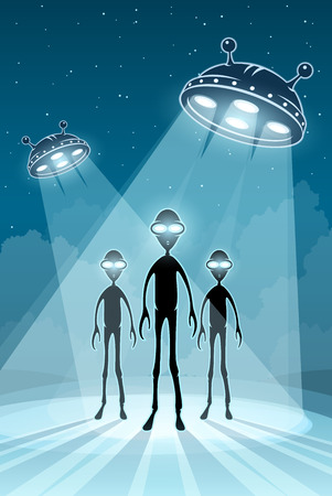 Alien newcomers and flying saucers UFO with bright light.  Vector