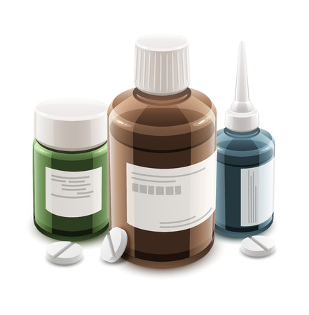 bottle of medicine: Bottles with medical drugs and pills. Eps10 vector illustration. Isolated on white background