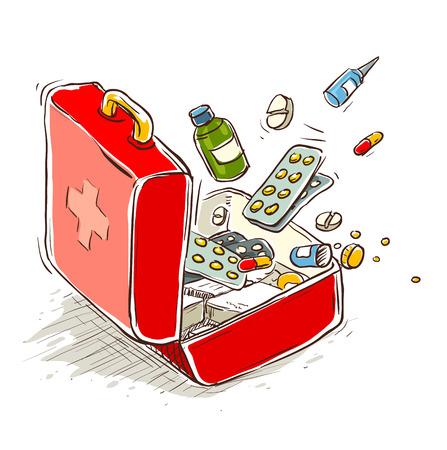 first aid box: Cuadro de primeros auxilios con medicamentos y pastillas. Ilustraci�n vectorial Eps10. Aislado en el fondo blanco
