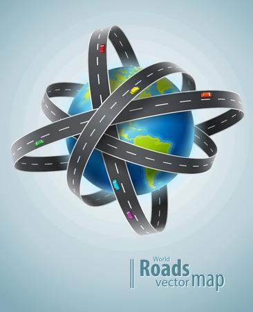 trajectoire: plan�te mondiale entour� par r�seau de routes. Eps10 illustration vectorielle