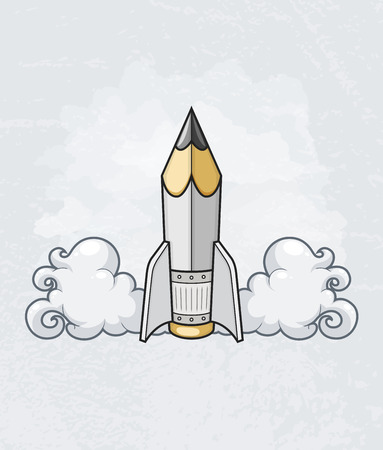 Creative design concept with pencil tool as starting rocket.  Illustration