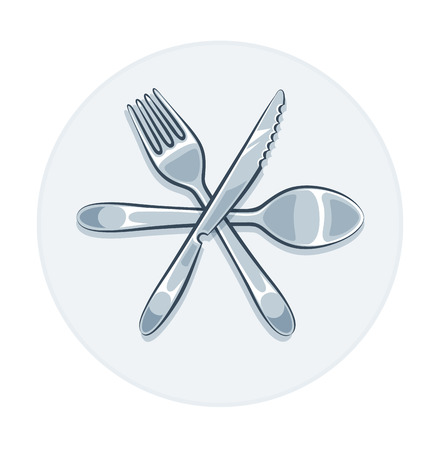 Kitchen utensils fork knife and spoon. illustration. Isolated on white  Vector