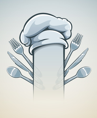 Kitchen utensils for cooking fork knife spoon and cap. Eps10 vector illustration. Vector