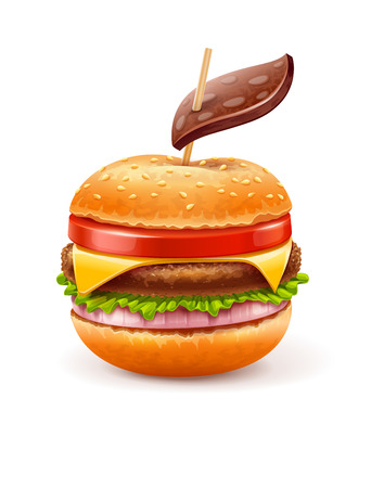 Unhealthy eating concept with hamburger like apple with leaf.  EPS10 vector illustration Vector
