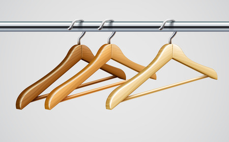 keeping room: Wardrobe tube with wooden coat hangers for clothes  illustration Illustration