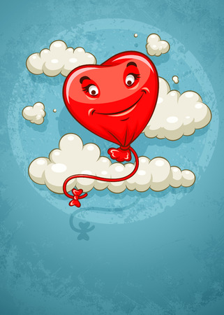 Red heart baloon flying among clouds retro card   illustration on grunge retro background Vector