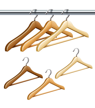 keeping: Wooden coat hangers on the tube for wardrobe clothes.  Isolated on white background Illustration