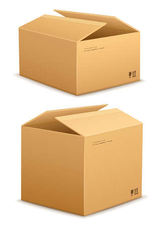 Cardboard boxes for packing and mail delivery. illustration. Isolated on white background Vector