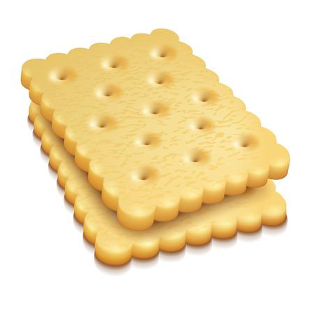crisp: two crisp cookies snacks isolated on white background