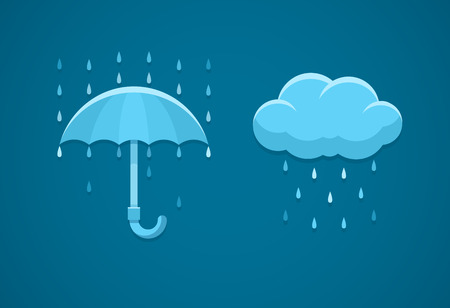 Rainy weather flat icons with cloud rain drops and umbrella.   Vector