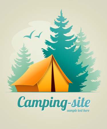 tent: Camping with tent in forest.   Illustration