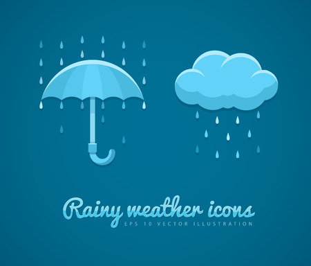 meteorological: Flat icons of rainy weather with cloud rain drops and umbrella.