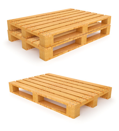 euro pallet: Wooden pallet. 3d rendered illustration. Isolated on white background. Clipping path included