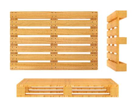 pallet: Paleta de madera. 3d rindió la ilustración. Aislado en el fondo blanco. Trazado de recorte incluidos