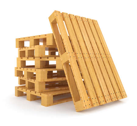 Pile of wooden pallets. 3d rendered illustration. Isolated on white background. Clipping path included illustration