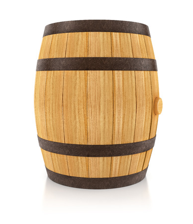 oaken: Wooden oaken barrel for beverages storing. 3d rendered illustration. Isolated on white background. Clipping path included