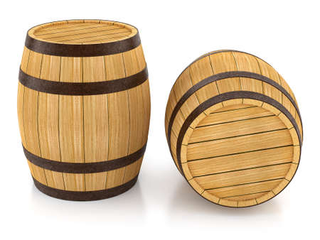 oaken: Wooden barrels for wine and beer storage. 3d rendered illustration. Isolated on white background. Clipping path included