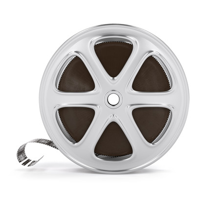 video film: Vintage cinema film tape on disc. 3d rendered illustration. Isolated on white background Stock Photo