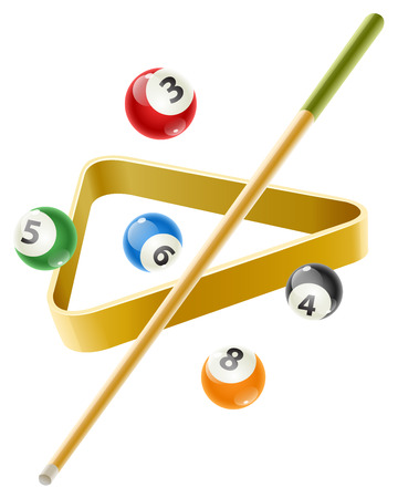 cue: Ball and cue for playing  billiard game.  Illustration