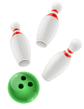 Skittles and ball for playing the bowling game.  Vector