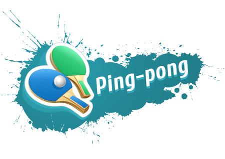 tischtennis: Tischtennis Tischtennis-Schl�ger und Ball auf Grunge Hintergrund. Eps10 Vektor-Illustration. Isoliert auf wei�em Hintergrund