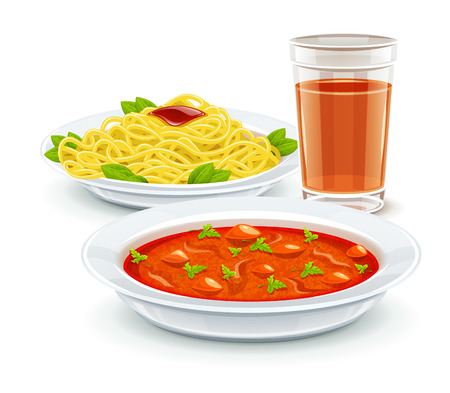 ingestion: Set meal dinner menu with soup pasta and juice drink.