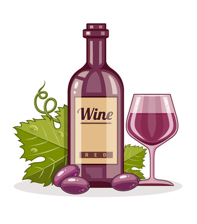 Red wine bottle and full goblet of drink. Eps10 vector illustration. Isolated on white background Vector