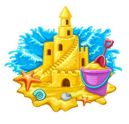 castello fiabesco: Sand fiaba castello con finestra alte torri e scale. Vettoriali