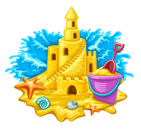 Sand fairy-tale castle with high towers window and stairs.