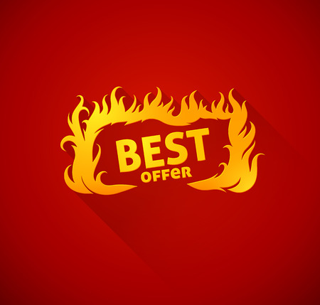 hot price: Sign best offer with burning fire silhouette.