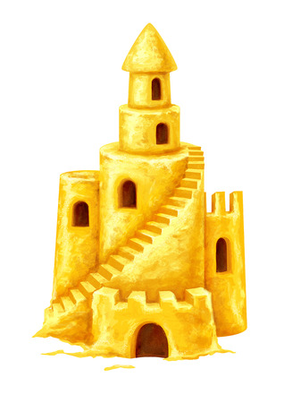 sand art: Sand fairy-tale castle with high towers window and stairs. Illustration isolated on white background Stock Photo