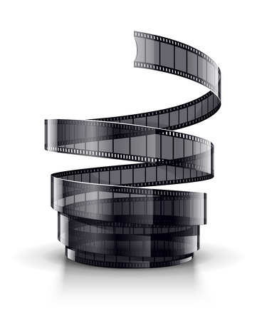 single coil: Spiral of cinematography film tape.  Illustration
