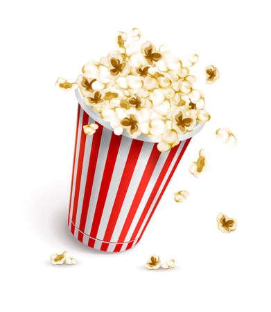cinematograph: Vaso de papel lleno de palomitas de ma�z. Ilustraci�n vectorial Eps10. Aislado en el fondo blanco