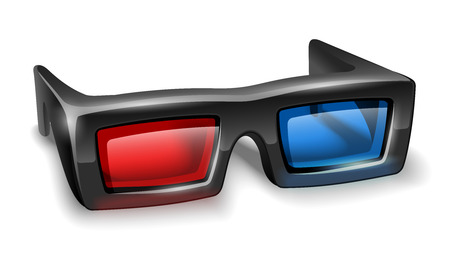 watching 3d: 3d glasses for watching stereo films. Illustration
