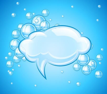 ambience: Bubbles cloud in water for message. Eps10 vector illustration