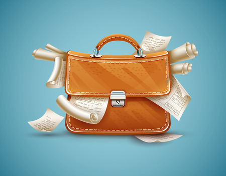 authoritative: Leather briefcase of busy businessman full of papers and documents. Eps10 vector illustration