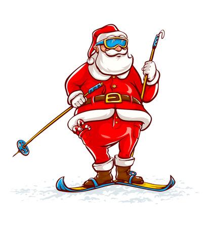 oldman: Santa claus on skis. Eps10 vector illustration. Isolated on white background
