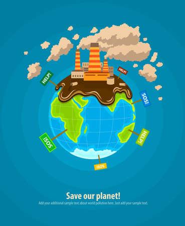 mundo contaminado: Infograf�a Ecolog�a concepto de plantillas con el planeta mundo ecocatastrophe industrial. Ilustraci�n vectorial Eps10 Vectores