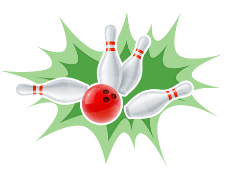 Skittles and ball for playing the bowling game. Eps10 vector illustration. Isolated on white background Vector