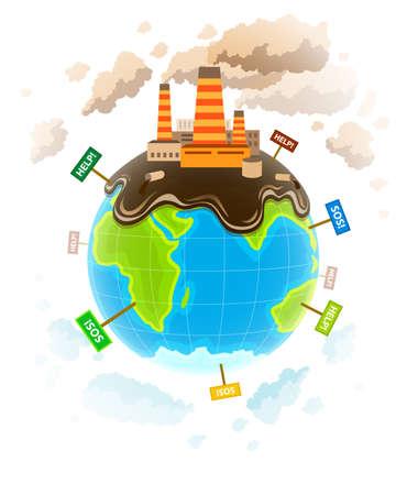mundo contaminado: Ecolog�a concepto con el planeta ecocatastrophe sucio. Ilustraci�n vectorial Eps10. Aislado en el fondo blanco