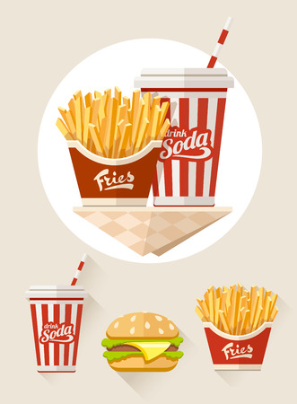 French fries and soda in paper cup flat icons set.  Vector