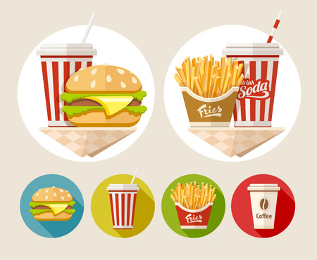 fried potatoes: Hamburger, french fries and soda drink in paper cup flat icons set illustration