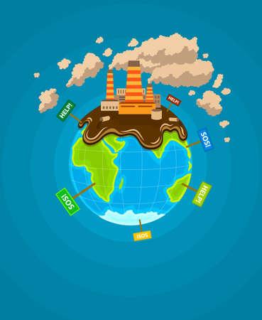 mundo contaminado: Infograf�a ecol�gicos. Tierra ecocatastrophe planeta.