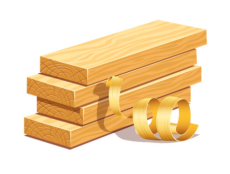 Rasped wooden boards and filings sawdusts.
