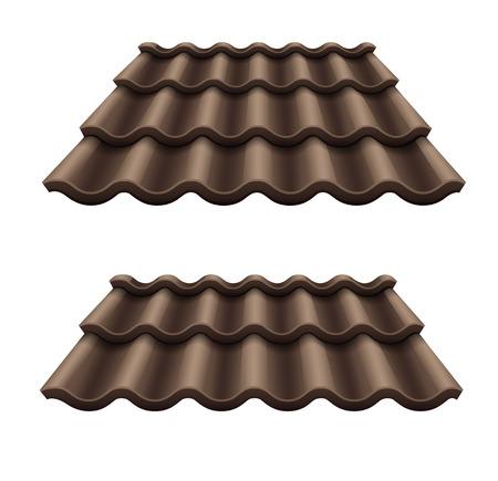 El chocolate negro elemento de teja acanalada de techo. Vectores