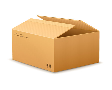 bundles: opening empty cardboard delivery packaging box isolated on transparent white background - eps10 vector illustration Illustration