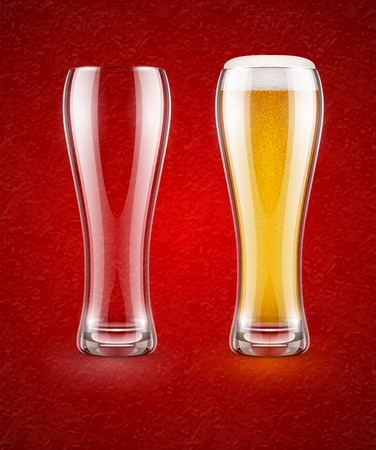 food and beverage: Beer with froth in the glass and empty transparent goblet for drinking.