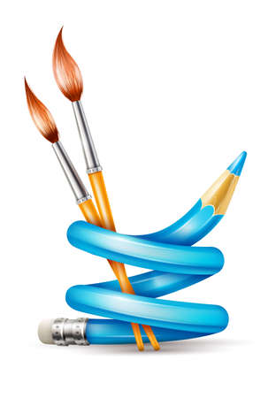 Creative art design concept with twisted pencil and brushes tools for drawing.  Illustration