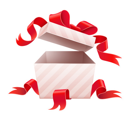 unexpectedness: Open box with ribbon for holiday gift.vector illustration. Isolated on white background
