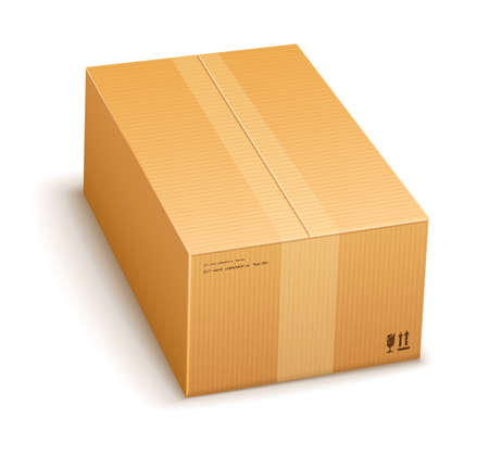 batch: cardboard packing box closed for delivery isolated on transparent white background